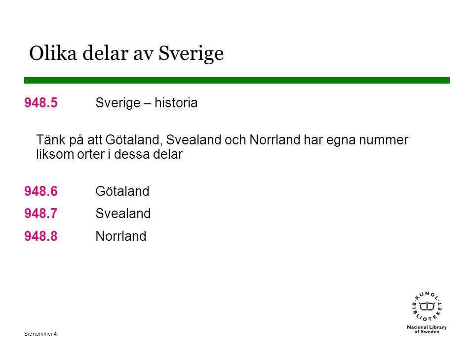 Sidnummer 5 Andra standardindelningar kan läggas till Andra indelningar från T1 kan läggas till enligt tilläggstabell under 930-990 948.500222 Sverige - historia – bildverk (948.5 + 002 (enligt tilläggstabell under 930-990) 948.684400222 Vadstena – bildverk Indelningar för Sverige finns utförda i tabell 2 och kan sökas direkt i index T2--486844 Vadstena T2--486844