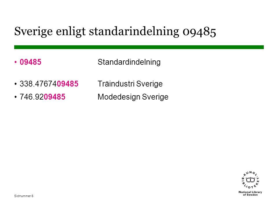 Sidnummer 6 Sverige enligt standarindelning 09485 09485 Standardindelning 338.4767409485 Träindustri Sverige 746.9209485 Modedesign Sverige