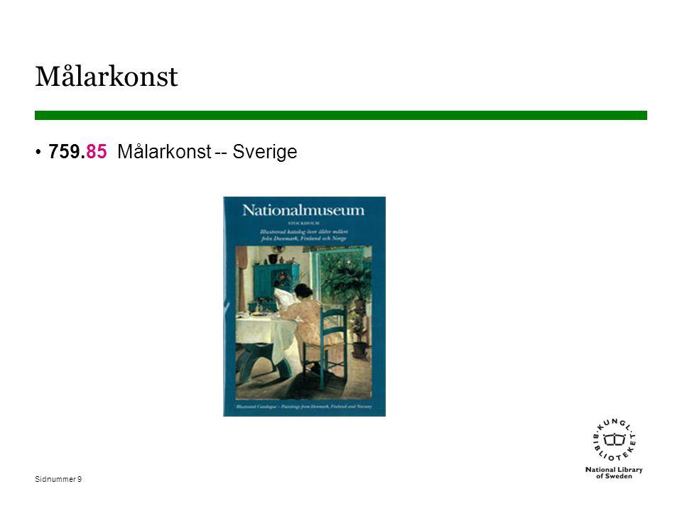 Sidnummer 9 Målarkonst 759.85 Målarkonst -- Sverige