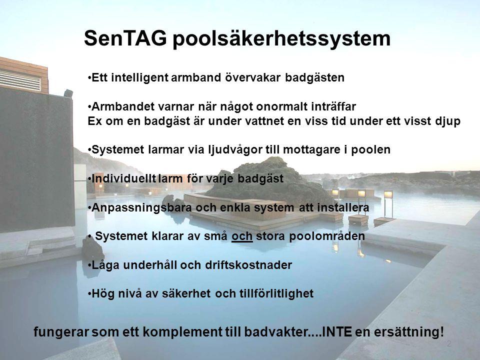 2 SenTAG poolsäkerhetssystem fungerar som ett komplement till badvakter....INTE en ersättning! Ett intelligent armband övervakar badgästen Armbandet v