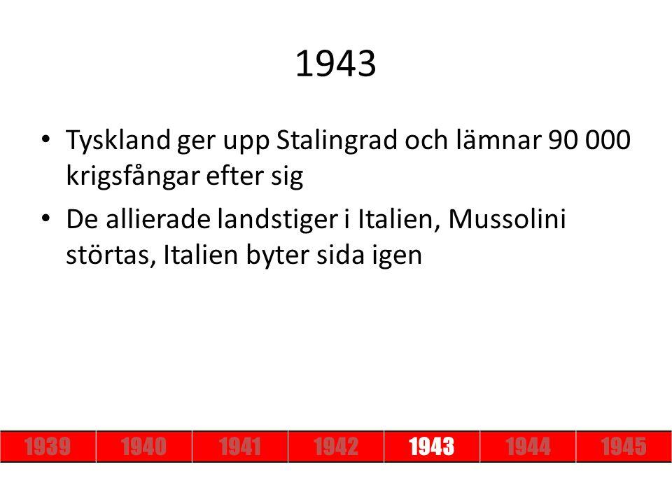 1943 Tyskland ger upp Stalingrad och lämnar 90 000 krigsfångar efter sig De allierade landstiger i Italien, Mussolini störtas, Italien byter sida igen