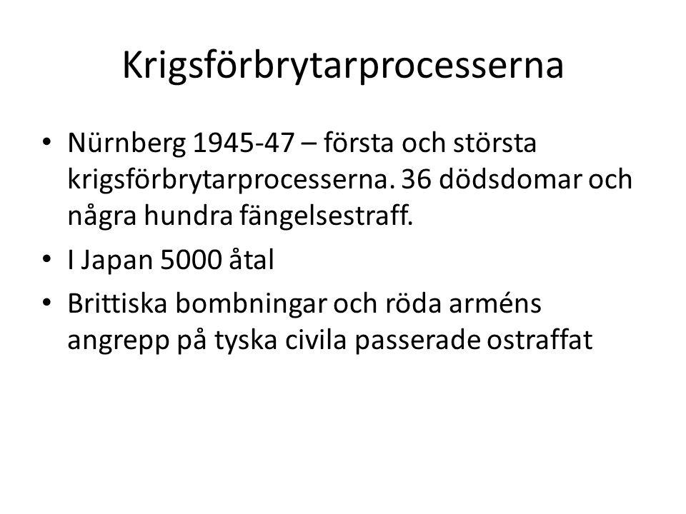 Krigsförbrytarprocesserna Nürnberg 1945-47 – första och största krigsförbrytarprocesserna. 36 dödsdomar och några hundra fängelsestraff. I Japan 5000
