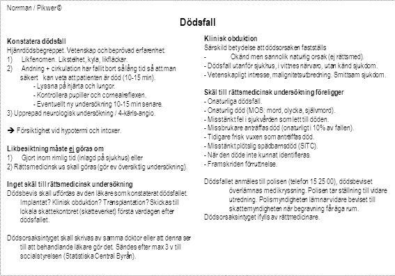 Konstatera dödsfall Hjänrdödsbegreppet. Vetenskap och beprövad erfarenhet: 1) Likfenomen.