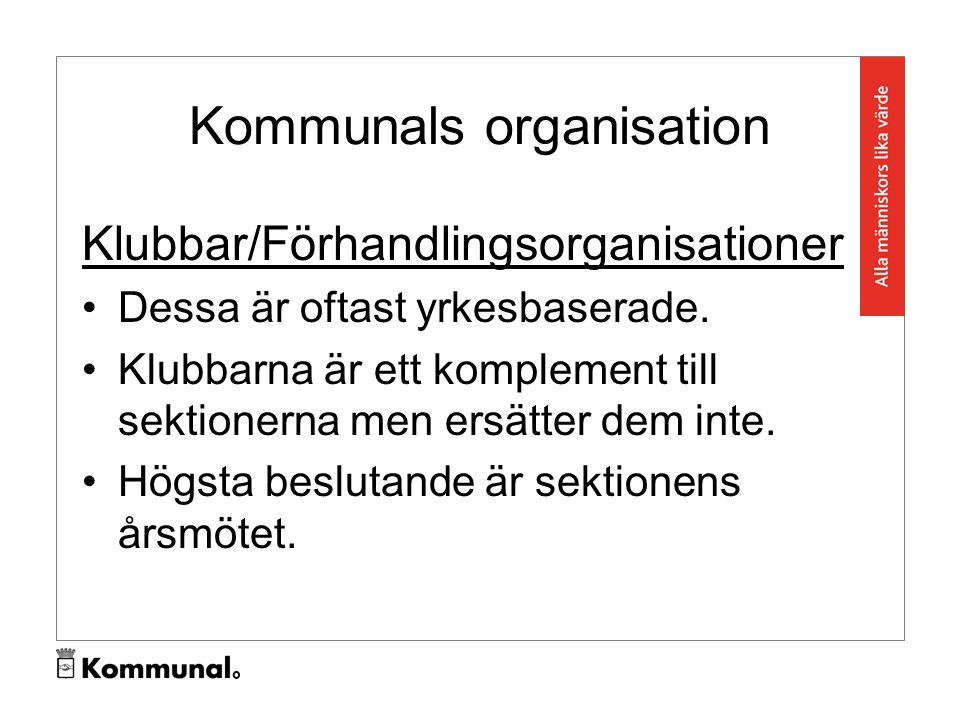 Kommunals organisation Klubbar/Förhandlingsorganisationer Dessa är oftast yrkesbaserade.