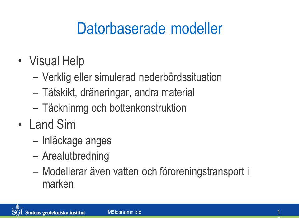 Mötesnamn etc 1212 Datorbaserade modeller Visual Help –Verklig eller simulerad nederbördssituation –Tätskikt, dräneringar, andra material –Täckninmg o