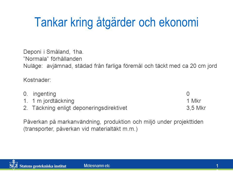 """Mötesnamn etc 1616 Tankar kring åtgärder och ekonomi Deponi i Småland, 1ha. """"Normala"""" förhållanden Nuläge: avjämnad, städad från farliga föremål och t"""