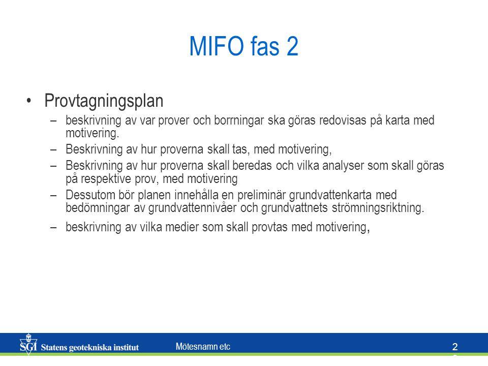 Mötesnamn etc 2828 MIFO fas 2 Provtagningsplan –beskrivning av var prover och borrningar ska göras redovisas på karta med motivering. –Beskrivning av