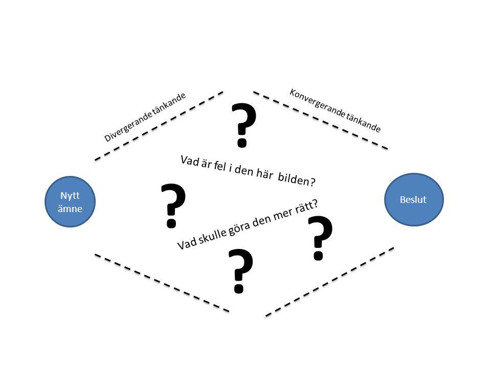 Nytt ämne Beslut Divergerande tänkande Konvergerande tänkande ? ? ? ? Vad är fel i den här bilden? Vad skulle göra den mer rätt?