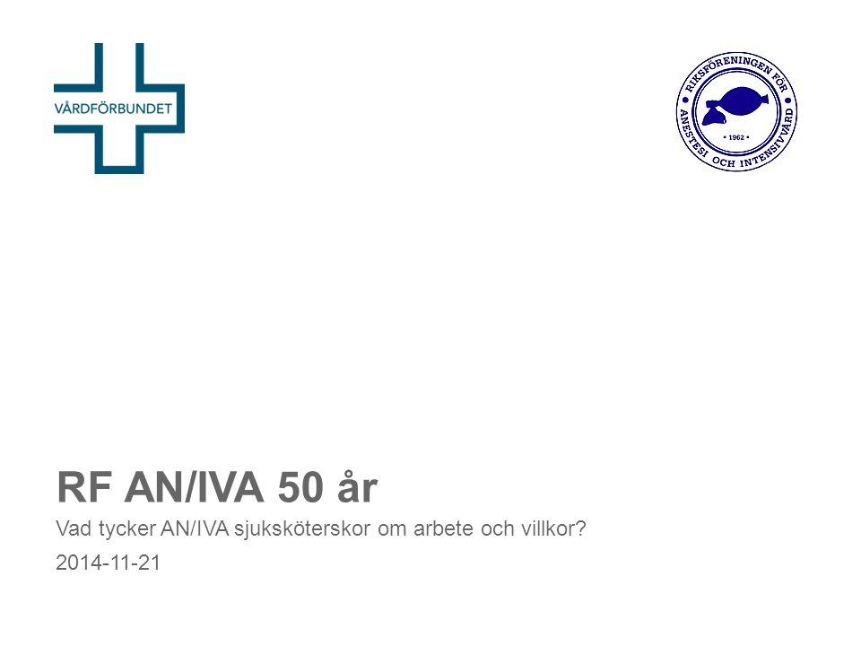 RF AN/IVA 50 år Vad tycker AN/IVA sjuksköterskor om arbete och villkor 2014-11-21