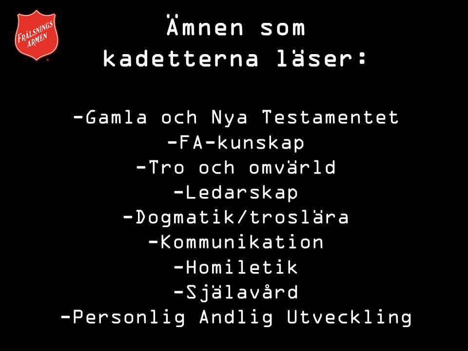 Ämnen som kadetterna läser: -Gamla och Nya Testamentet -FA-kunskap -Tro och omvärld -Ledarskap -Dogmatik/troslära -Kommunikation -Homiletik -Själavård