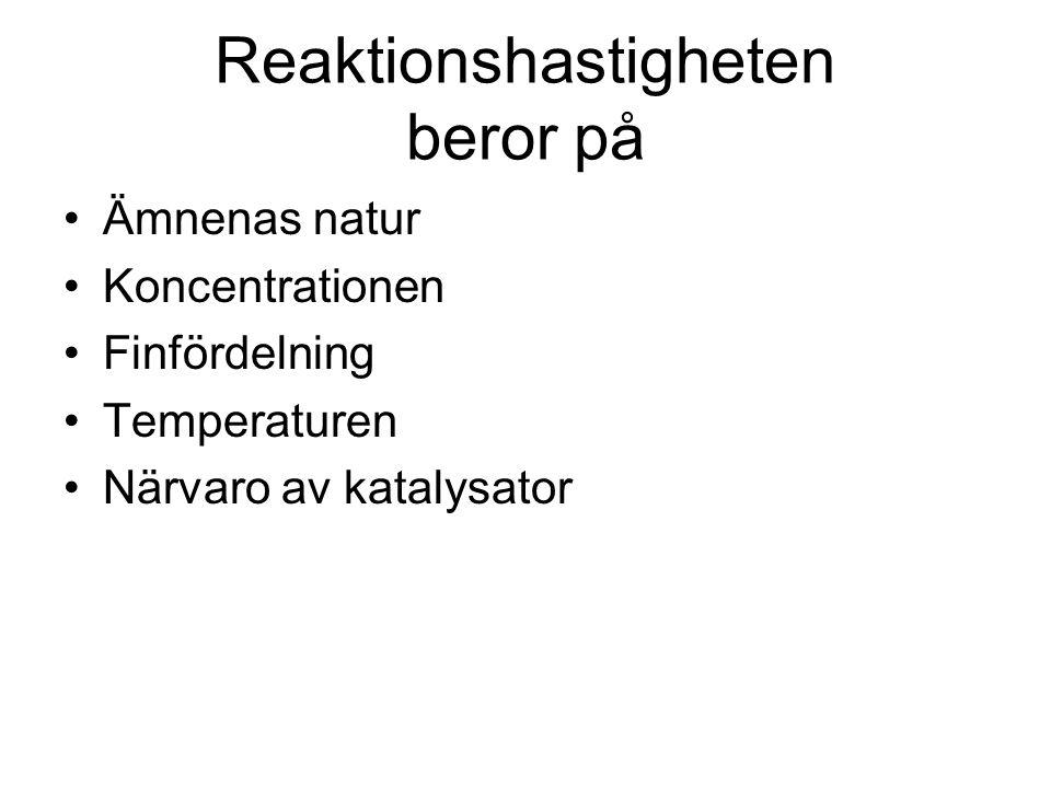 Reaktionshastigheten beror på Ämnenas natur Koncentrationen Finfördelning Temperaturen Närvaro av katalysator