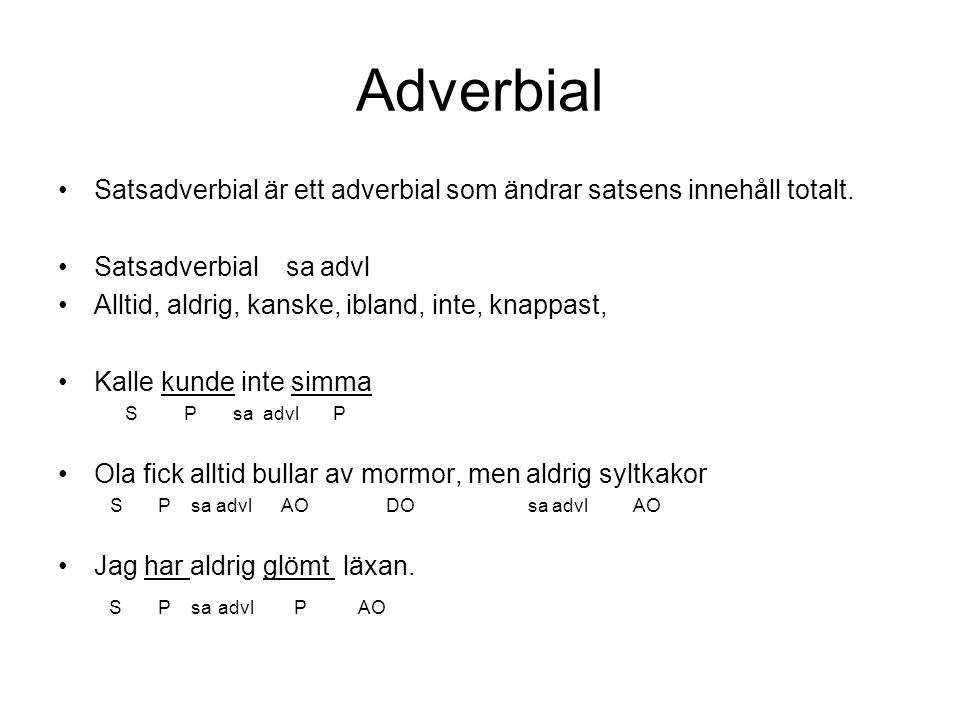Adverbial Satsadverbial är ett adverbial som ändrar satsens innehåll totalt. Satsadverbial sa advl Alltid, aldrig, kanske, ibland, inte, knappast, Kal