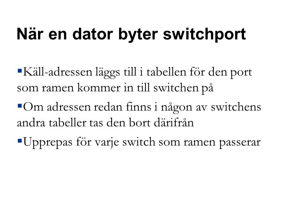 När en dator byter switchport  Käll-adressen läggs till i tabellen för den port som ramen kommer in till switchen på  Om adressen redan finns i någon av switchens andra tabeller tas den bort därifrån  Upprepas för varje switch som ramen passerar