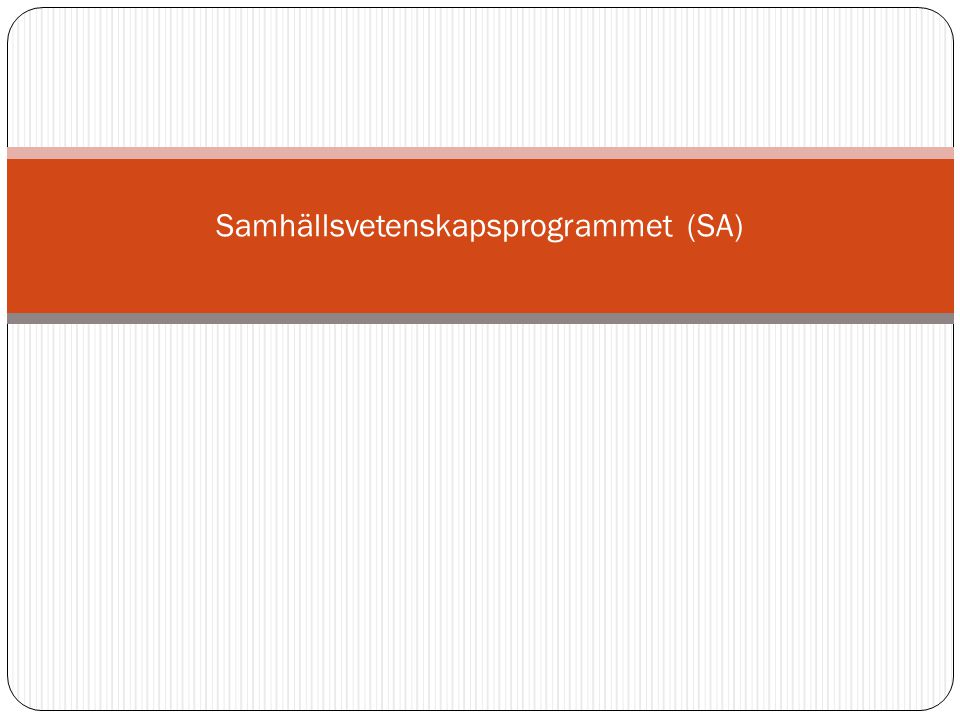 Samhällsvetenskapsprogrammet (SA)