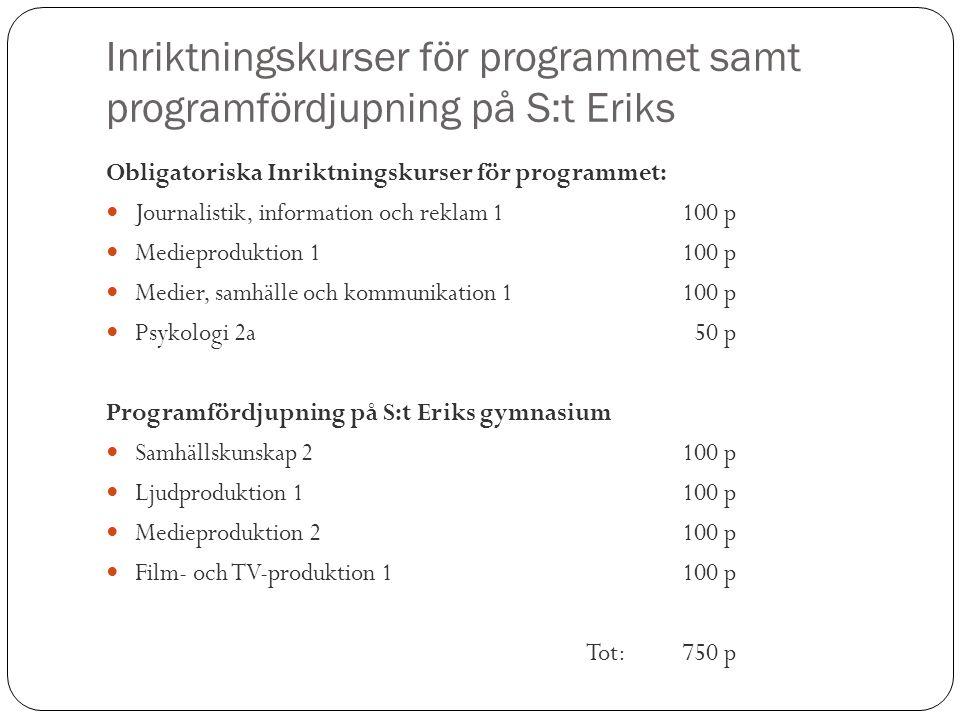Inriktningskurser för programmet samt programfördjupning på S:t Eriks Obligatoriska Inriktningskurser för programmet: Journalistik, information och re