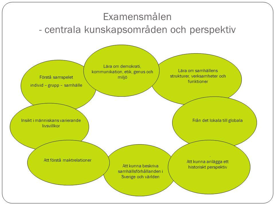 Examensmålen - centrala kunskapsområden och perspektiv. Förstå samspelet individ – grupp – samhälle Lära om samhällens strukturer, verksamheter och fu