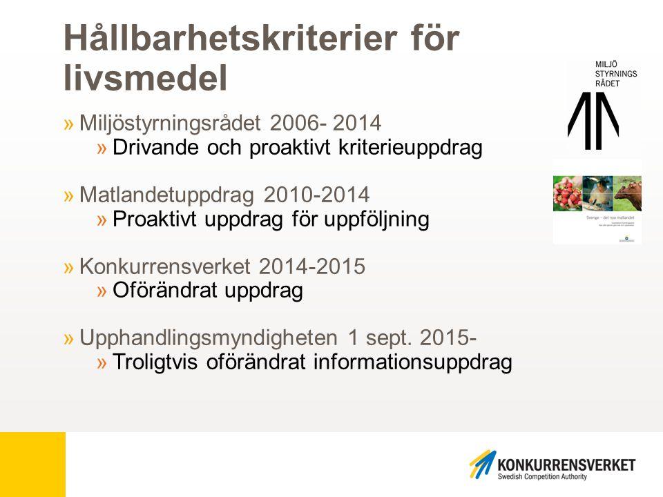 Så har kriterierna utvecklats… Utvecklingen 2010 »Ambitiösa arbetsgrupper »Så många kriterier som möjligt »Ingen styrning »Verifieringen lämnad till marknaden »EU:s kriterier = EU- ekologiskt »Livsmedelsuppföljning svår i praktiken »Uppföljningsmatris för märkningar 2012 Revideringen 2014 »Ambitiösa expertgrupper »Stor mängd kriterier »Ökad styrning genom ökad information »Verifiering och »uppföljning i fokus »Livsmedelsupphandling överlägset bäst på uppföljning.