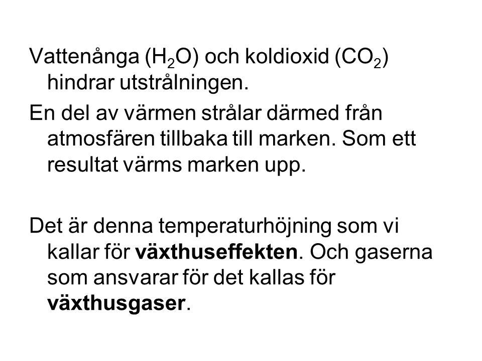 Vattenånga (H 2 O) och koldioxid (CO 2 ) hindrar utstrålningen.