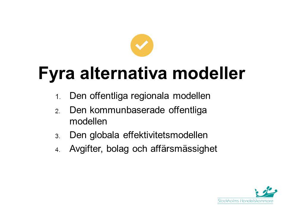 Fyra alternativa modeller 1. Den offentliga regionala modellen 2. Den kommunbaserade offentliga modellen 3. Den globala effektivitetsmodellen 4. Avgif