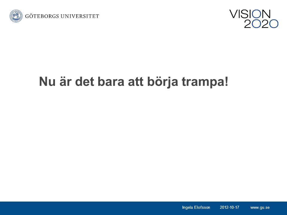 www.gu.se Nu är det bara att börja trampa! 2012-10-17Ingela Elofsson