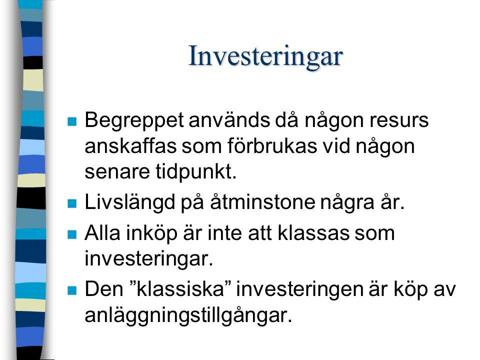 Investeringar n Begreppet används då någon resurs anskaffas som förbrukas vid någon senare tidpunkt.