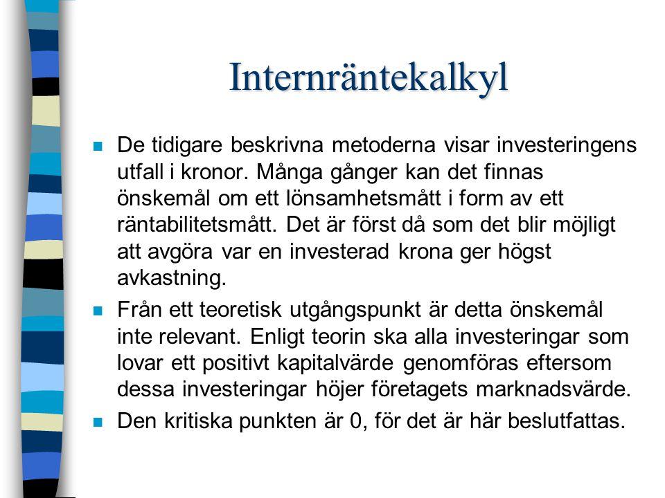Internräntekalkyl n De tidigare beskrivna metoderna visar investeringens utfall i kronor.