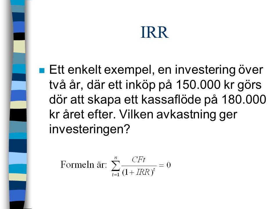 IRR n Ett enkelt exempel, en investering över två år, där ett inköp på 150.000 kr görs dör att skapa ett kassaflöde på 180.000 kr året efter.