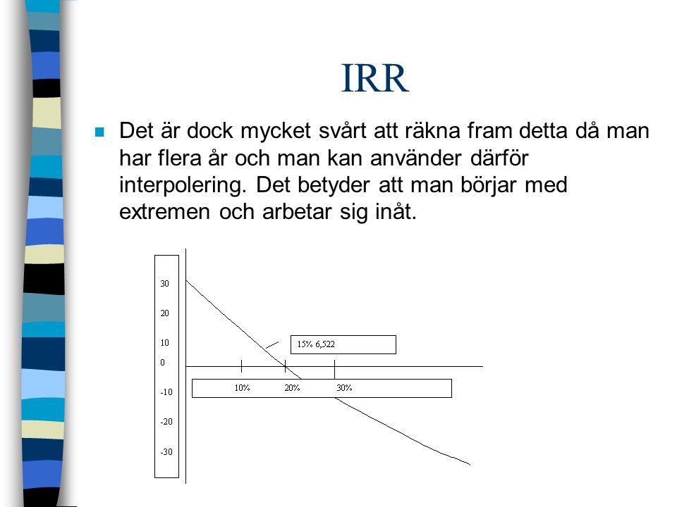 IRR n Det är dock mycket svårt att räkna fram detta då man har flera år och man kan använder därför interpolering.
