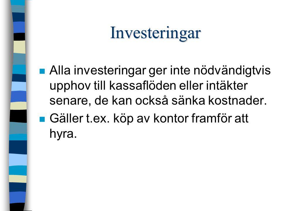 Annuitetskalkyler n Nuvärdesmetoden innebär att en investerings totala resultat under investeringens hela livslängd beräknas.