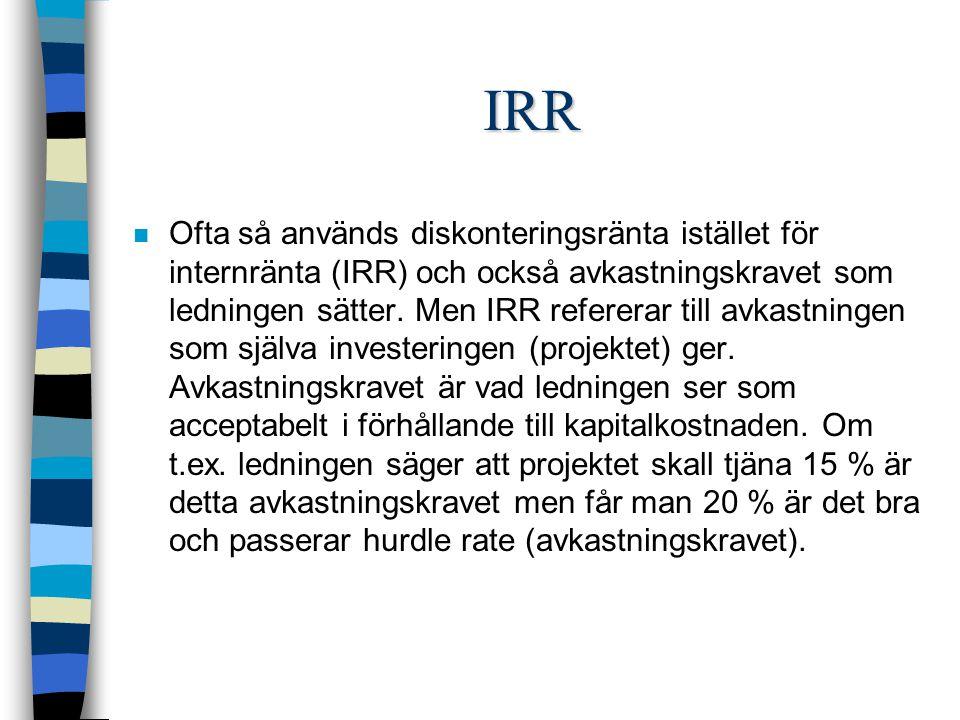 IRR n Ofta så används diskonteringsränta istället för internränta (IRR) och också avkastningskravet som ledningen sätter.