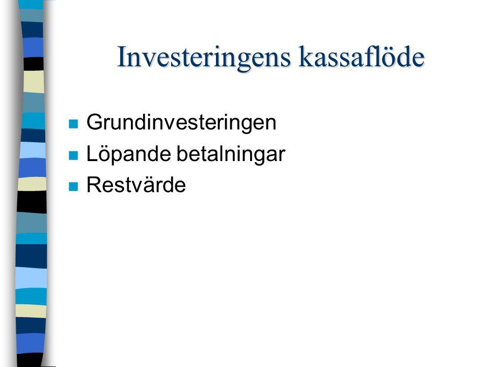 Investeringens kassaflöde n Grundinvesteringen n Löpande betalningar n Restvärde