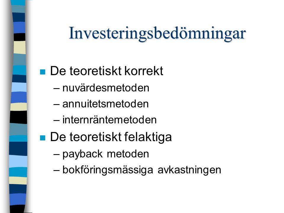 Investeringsbedömningar n De teoretiskt korrekt –nuvärdesmetoden –annuitetsmetoden –internräntemetoden n De teoretiskt felaktiga –payback metoden –bokföringsmässiga avkastningen