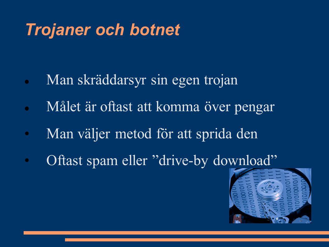 Man skräddarsyr sin egen trojan Målet är oftast att komma över pengar Man väljer metod för att sprida den Oftast spam eller drive-by download