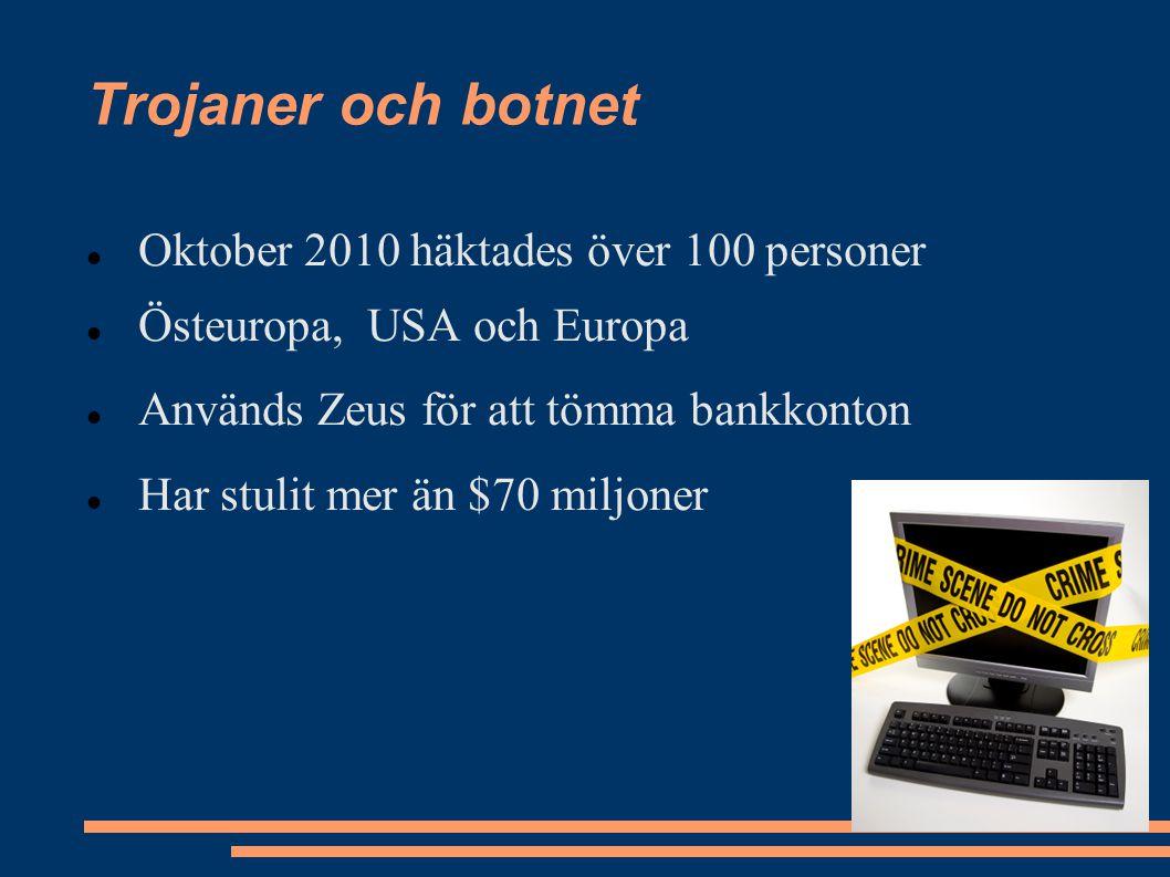Oktober 2010 häktades över 100 personer Östeuropa, USA och Europa Används Zeus för att tömma bankkonton Har stulit mer än $70 miljoner