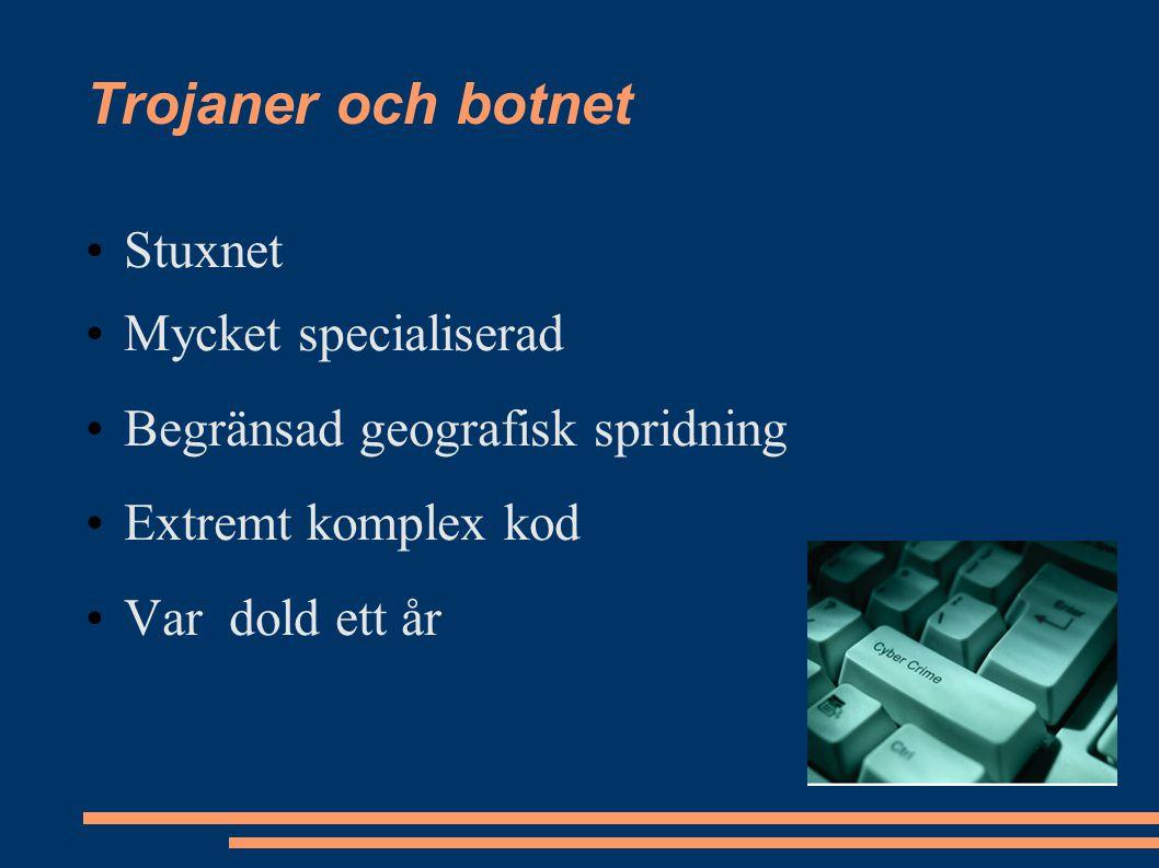 Trojaner och botnet Stuxnet Mycket specialiserad Begränsad geografisk spridning Extremt komplex kod Var dold ett år