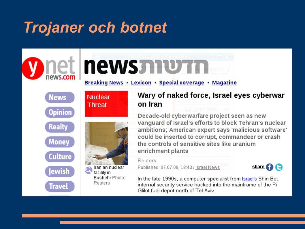 Trojaner och botnet Hur kan en webbsida infekteras.