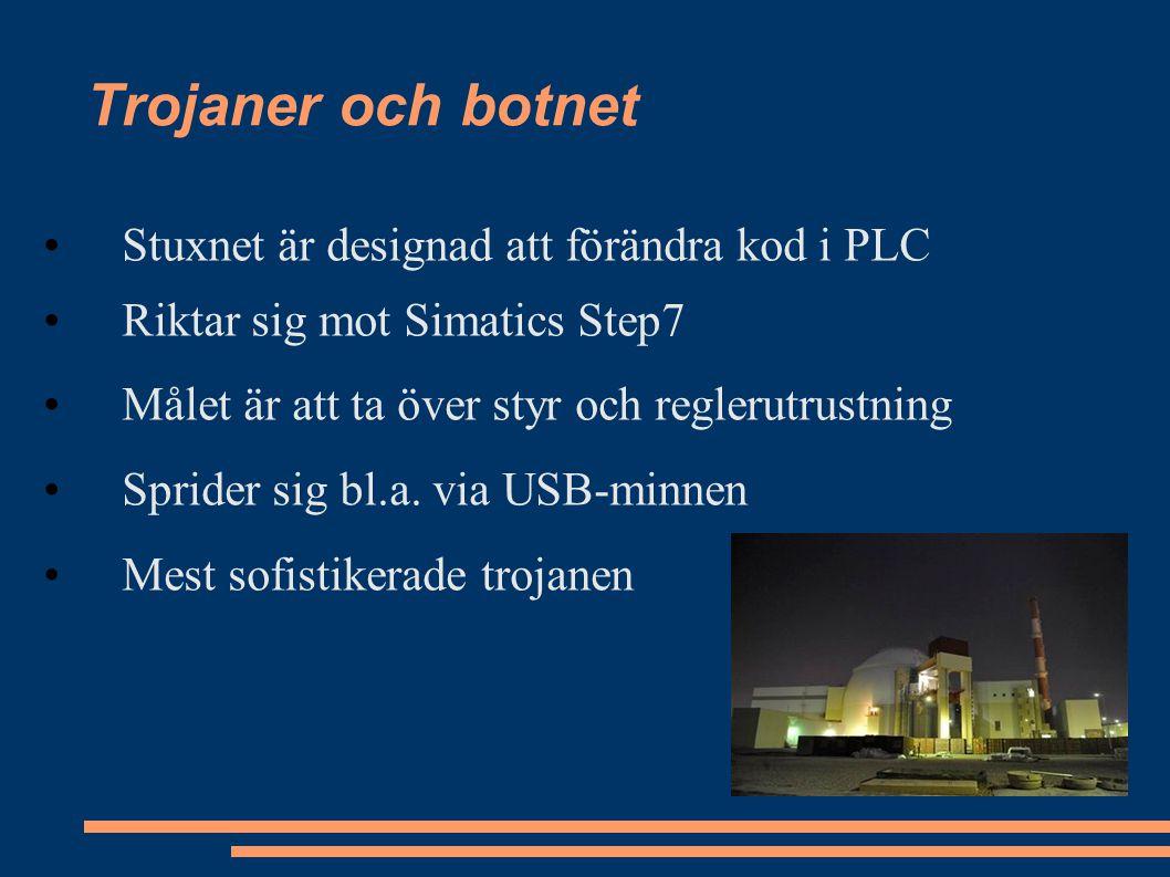 Stuxnet är designad att förändra kod i PLC Riktar sig mot Simatics Step7 Målet är att ta över styr och reglerutrustning Sprider sig bl.a.