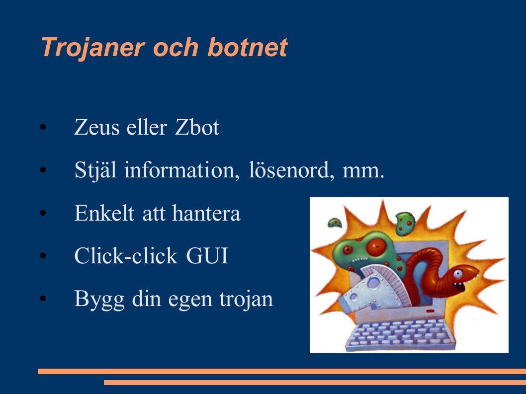Trojaner och botnet Zeus eller Zbot Stjäl information, lösenord, mm.