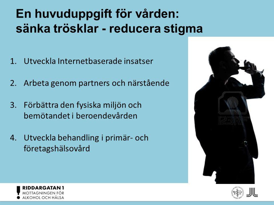 En huvuduppgift för vården: sänka trösklar - reducera stigma 1.Utveckla Internetbaserade insatser 2.Arbeta genom partners och närstående 3.Förbättra d