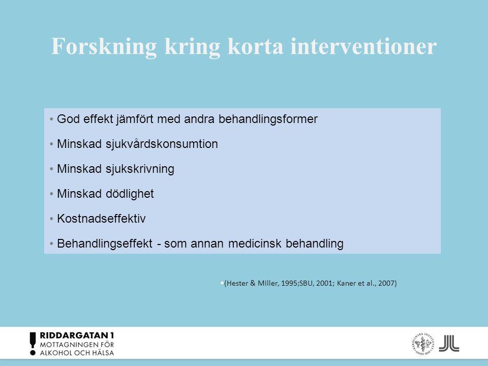 Forskning kring korta interventioner God effekt jämfört med andra behandlingsformer Minskad sjukvårdskonsumtion Minskad sjukskrivning Minskad dödlighe