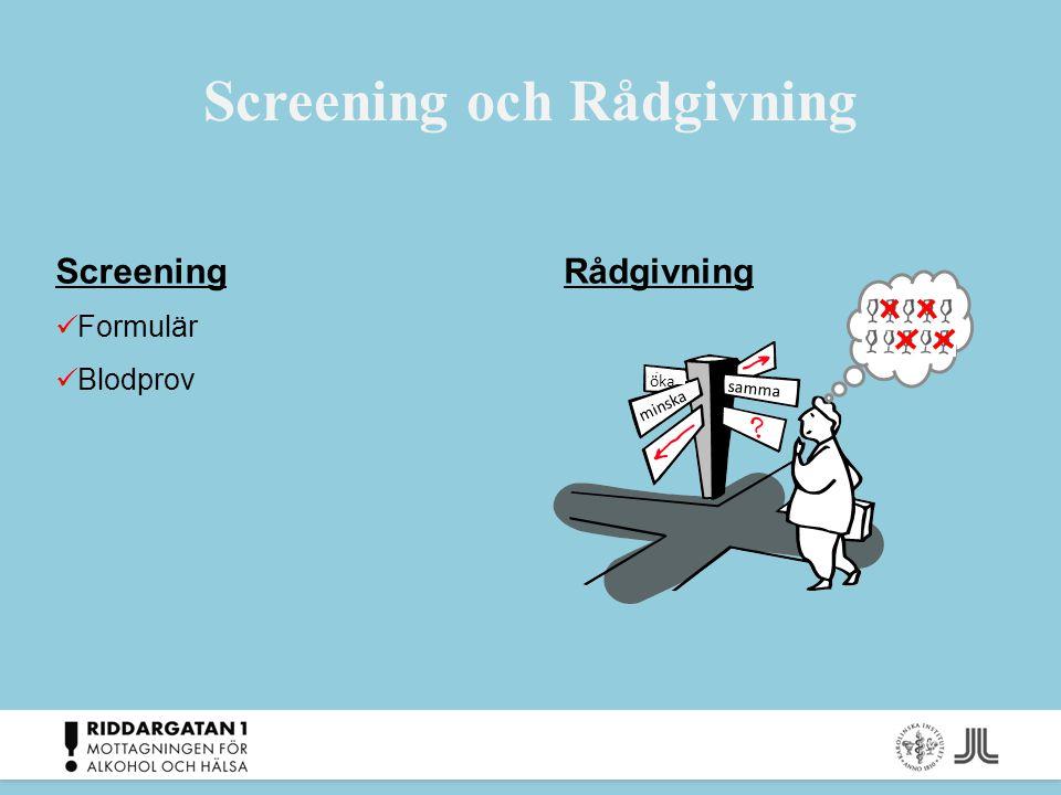 Screening och Rådgivning samma minska öka Screening Formulär Blodprov Rådgivning