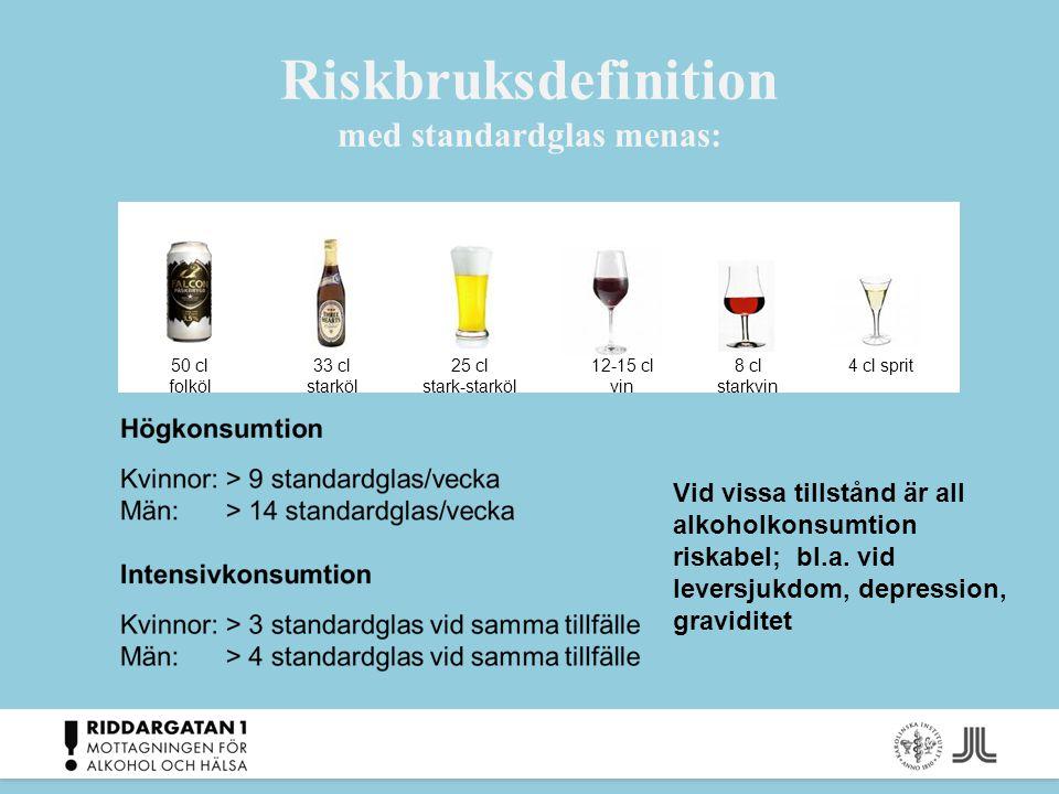 Riskbruksdefinition med standardglas menas: 50 cl folköl 33 cl starköl 25 cl stark-starköl 12-15 cl vin 4 cl sprit8 cl starkvin Vid vissa tillstånd är