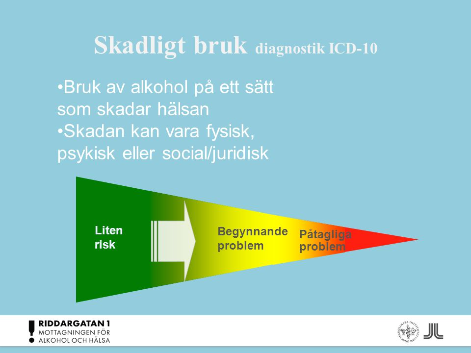 Skadligt bruk diagnostik ICD-10 Liten risk Påtagliga problem Begynnande problem Bruk av alkohol på ett sätt som skadar hälsan Skadan kan vara fysisk,