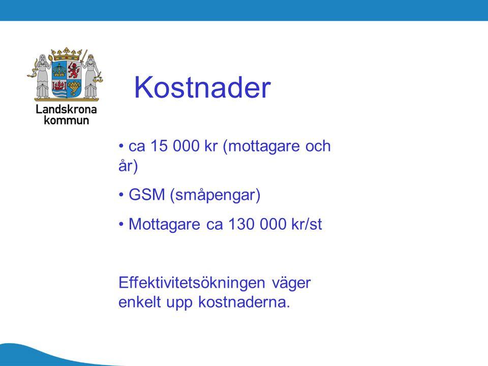Kostnader ca 15 000 kr (mottagare och år) GSM (småpengar) Mottagare ca 130 000 kr/st Effektivitetsökningen väger enkelt upp kostnaderna.