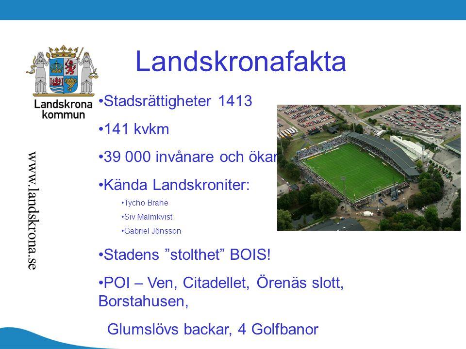 """Landskronafakta Stadsrättigheter 1413 141 kvkm 39 000 invånare och ökar Kända Landskroniter: Tycho Brahe Siv Malmkvist Gabriel Jönsson Stadens """"stolth"""