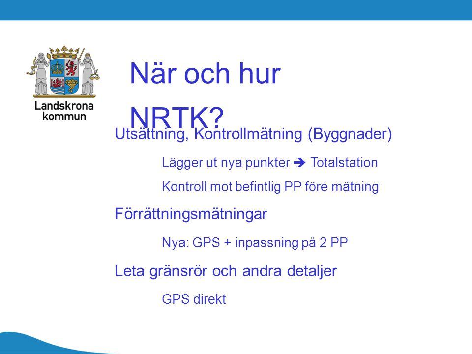 När och hur NRTK? Utsättning, Kontrollmätning (Byggnader) Lägger ut nya punkter  Totalstation Kontroll mot befintlig PP före mätning Förrättningsmätn