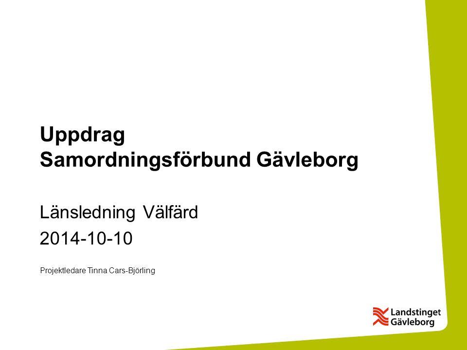 Uppdrag Samordningsförbund Gävleborg Länsledning Välfärd 2014-10-10 Projektledare Tinna Cars-Björling