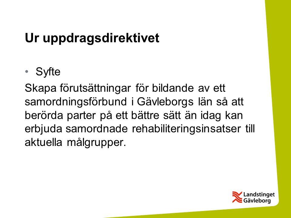 Ur uppdragsdirektivet Syfte Skapa förutsättningar för bildande av ett samordningsförbund i Gävleborgs län så att berörda parter på ett bättre sätt än idag kan erbjuda samordnade rehabiliteringsinsatser till aktuella målgrupper.