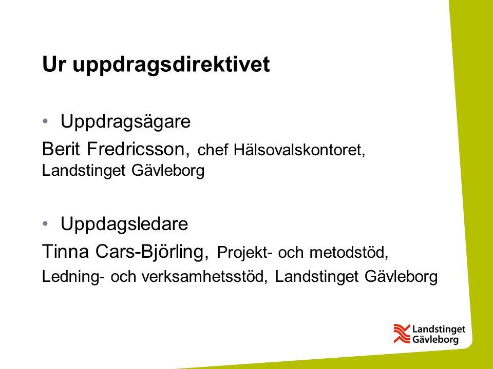 Ur uppdragsdirektivet Uppdragsägare Berit Fredricsson, chef Hälsovalskontoret, Landstinget Gävleborg Uppdagsledare Tinna Cars-Björling, Projekt- och metodstöd, Ledning- och verksamhetsstöd, Landstinget Gävleborg