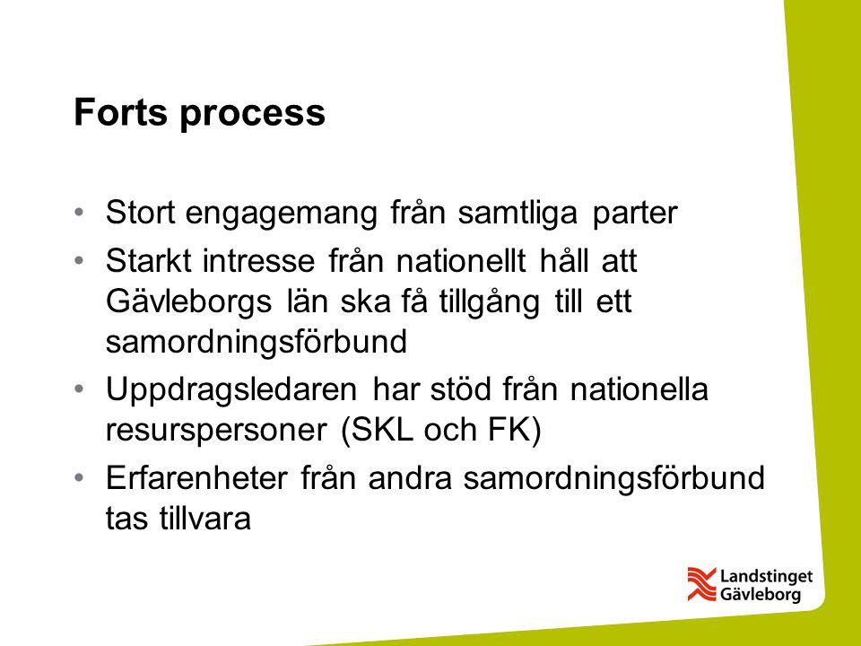 Forts process Stort engagemang från samtliga parter Starkt intresse från nationellt håll att Gävleborgs län ska få tillgång till ett samordningsförbund Uppdragsledaren har stöd från nationella resurspersoner (SKL och FK) Erfarenheter från andra samordningsförbund tas tillvara
